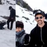 WATCH! Hrithik Roshan teaching the art of making a SNOWMAN to his sons in Switzerland! It's CUTE!