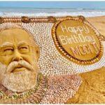 Sudarsan Pattnaik creates PM Modi's sand sculpture with 2035 seashells on his 71st birthday. Viral pic