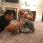 CANDID Moment! Salman Khan feeding Ahil milk from a bottle in London!