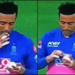 Uthappa spotted applying saliva on ball in IPL clash against KKR